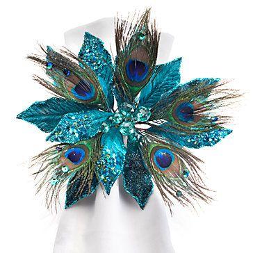 Jewel Poinsettia Napkin Rings Peacock Set Of 4 40 00