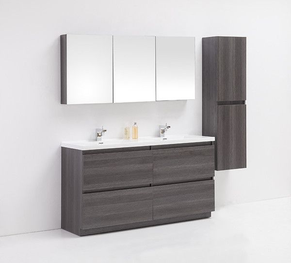 Surprising Brunswick Golden Elite 60 Grey Oak Modern Bathroom Vanity Interior Design Ideas Pimpapslepicentreinfo