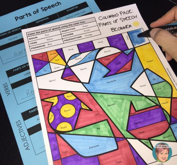 Parts Of Speech Coloring Pages Art With Jenny K Parts Of Speech Parts Of Speech Activities Parts Of Speech Worksheets