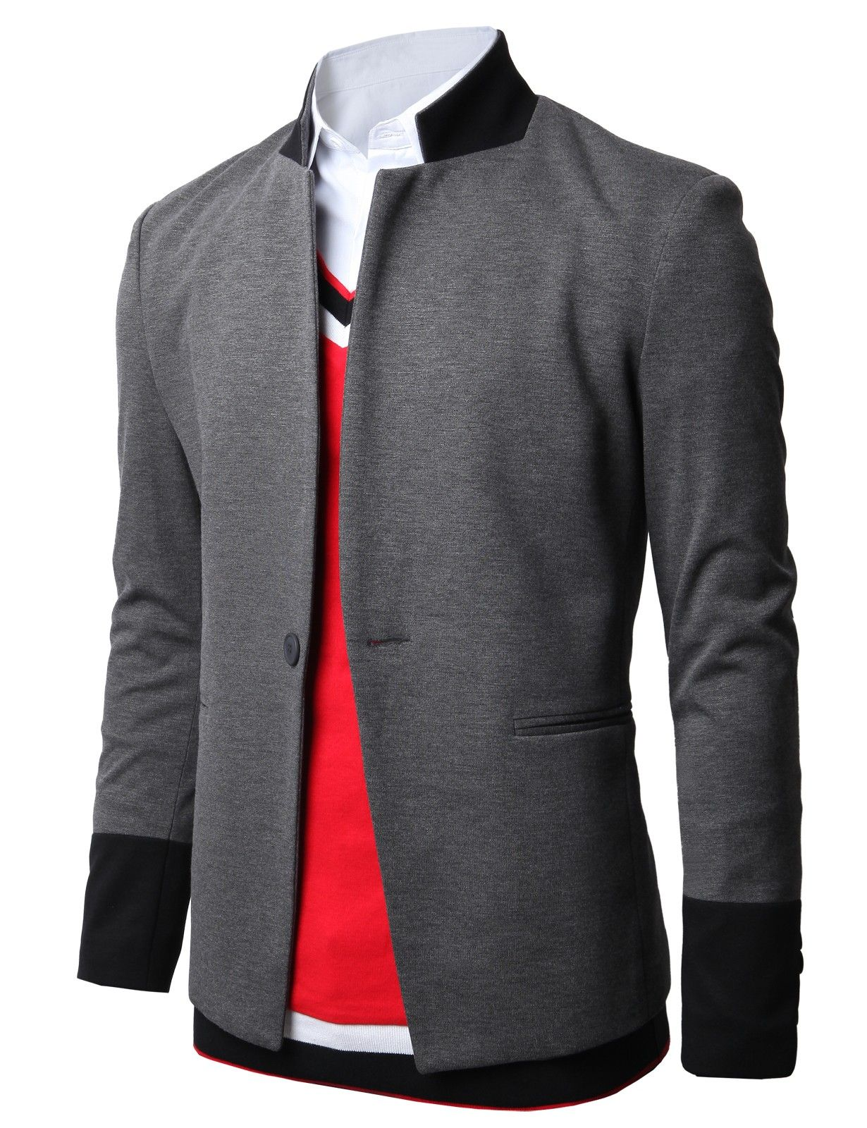 600a3157a27 Doublju Mens One Button Blazer Jackets with Mandarin Collar Ponte Fabric  (JGSK04)  doublju