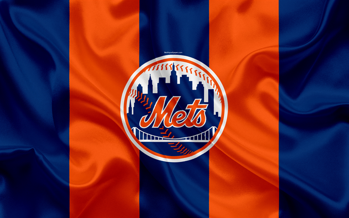 Download Wallpapers New York Mets 4k Logo Silk Texture American Baseball Club Blue Orange Flag Emblem Mlb New York Usa Major League Baseball Besthqwal New York Mets New York Mets Logo