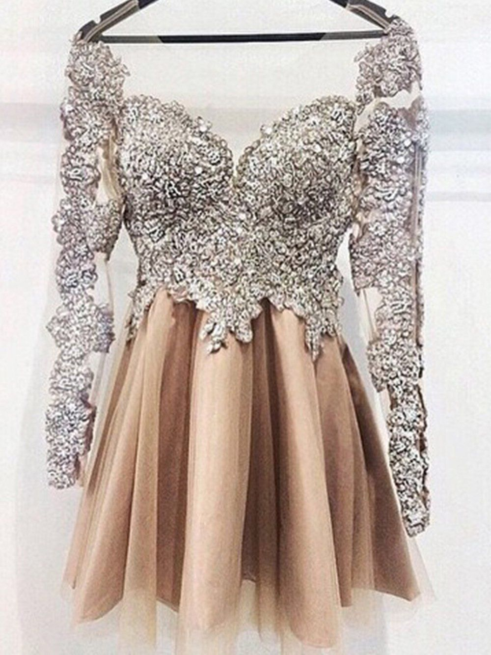 Sexy homecoming dress long sleeve appliques short prom dress party