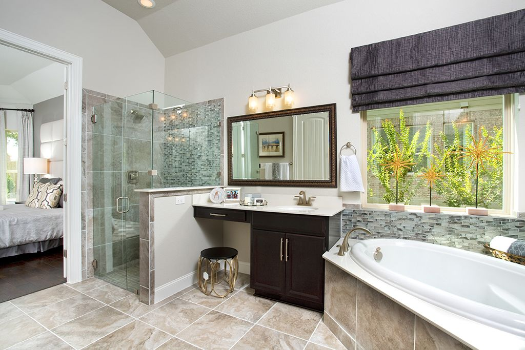 Bathroom Sinks San Antonio gehan homes master bathroom - tan tile, corner drop in tub, dark