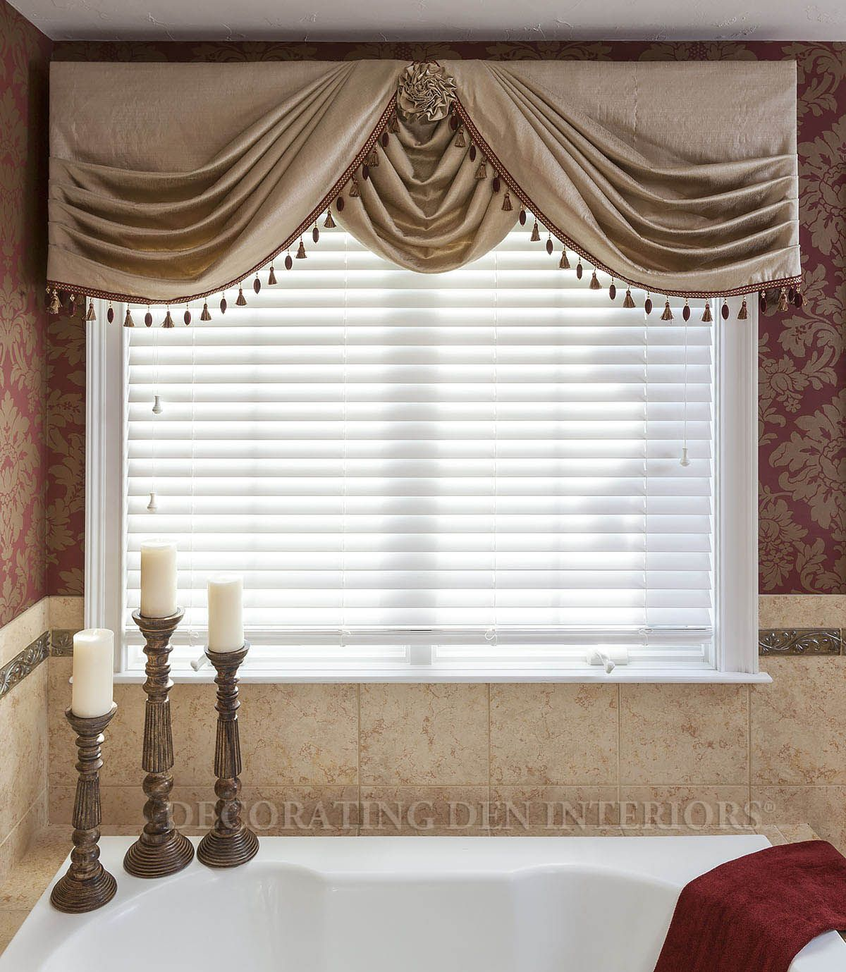 Side swags with center swag choux valances pinterest for Window valances for bedroom