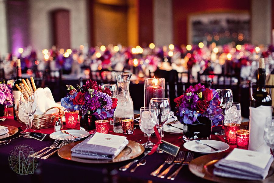 Purple And Gold Wedding Table Settings Purple And Gold Wedding
