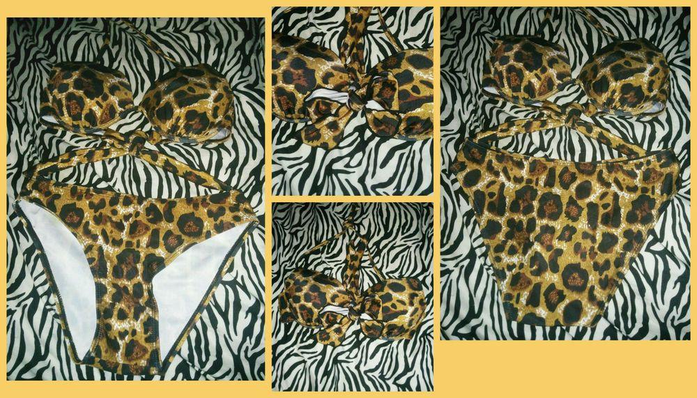 Spring Beach Pin Up 50's Vintage Bikini Swimwear Bathing Suit Leopard S #NEW #Bikini