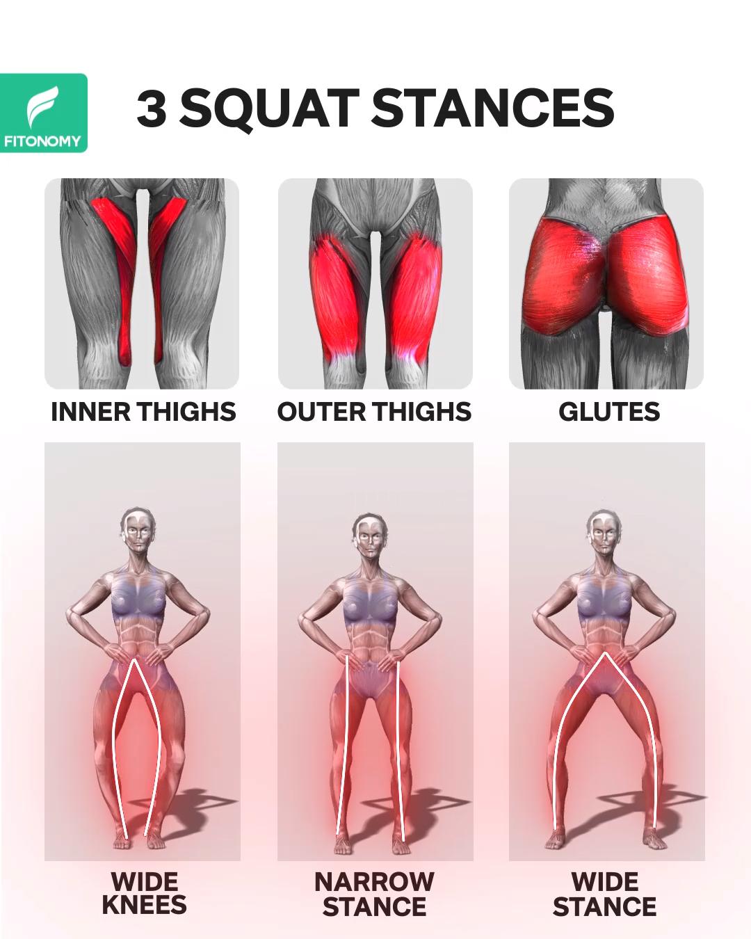 3 SQUAT STANCES