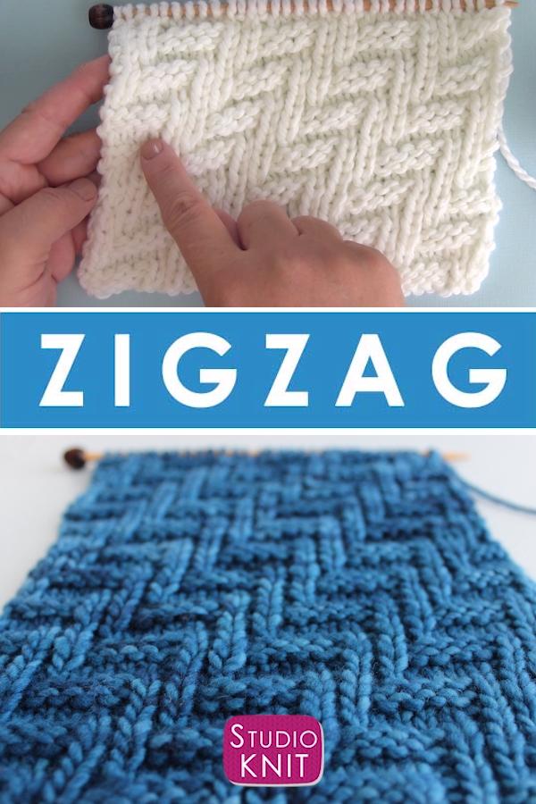 Diagonal Chevron Zigzag Stitch Knitting Pattern