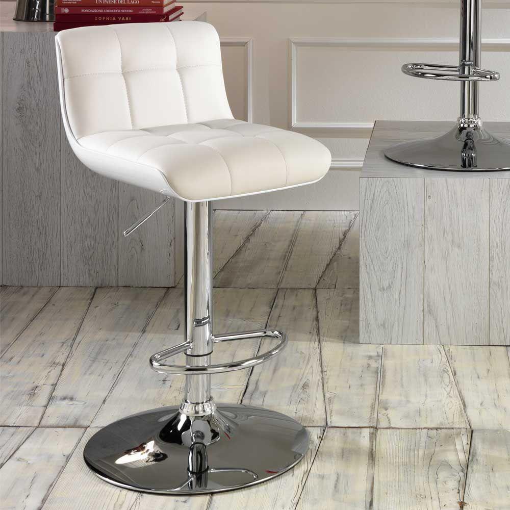 Höhenverstellbarer Küchenhocker in Weiß drehbar (2er Set) Jetzt ...