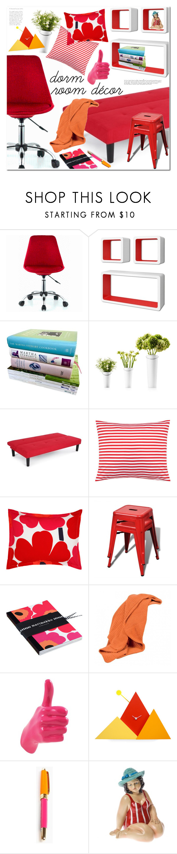 """Home Away From Home: Dorm Decor"" by ansev ❤ liked on Polyvore featuring interior, interiors, interior design, home, home decor, interior decorating, Martha Stewart, Eva Solo, Marimekko and Scapa Home"