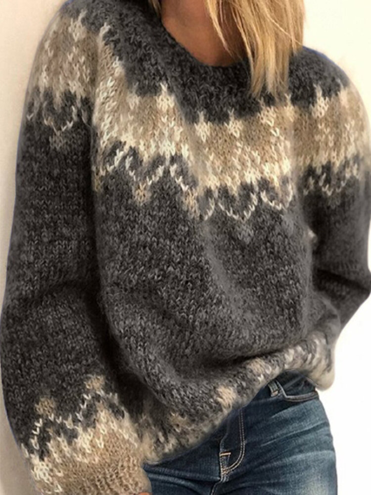 Jacquard Printed Casual Pullover Knit Women Sweate