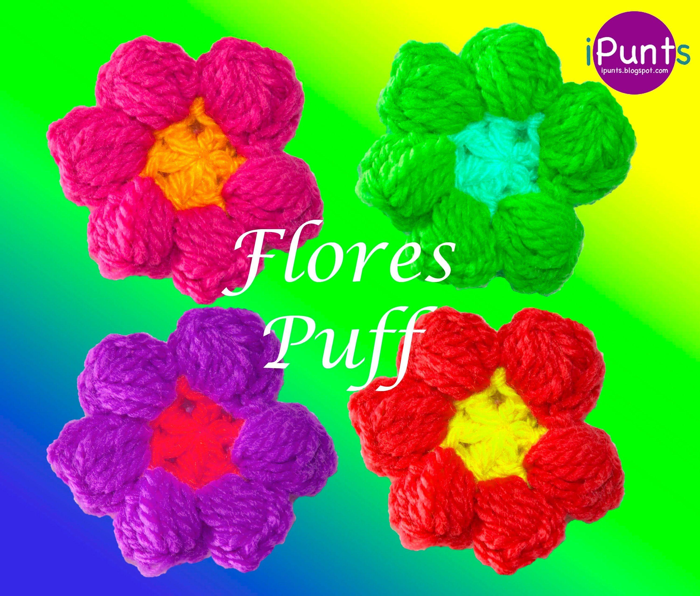 Flores Puff Crochet Paso a paso | Flores | Pinterest | Flores ...