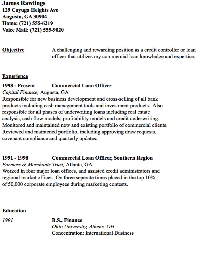 Commercial Loan Officer Resume Sample  HttpResumesdesignCom