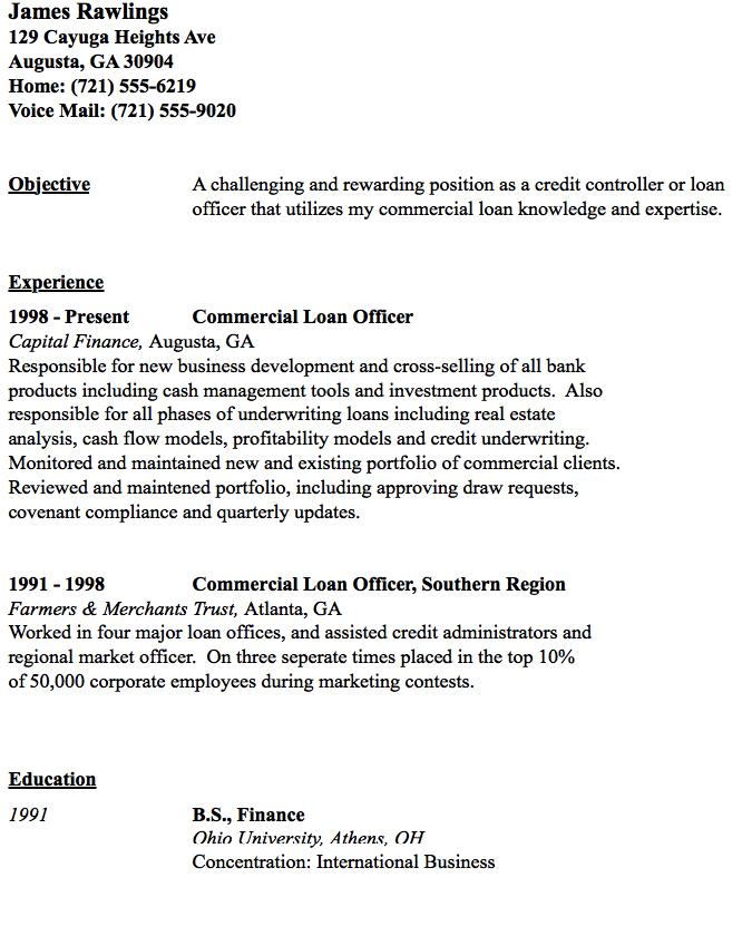 Commercial Loan Officer Resume Sample Resumesdesign Commercial Loans Sample Resume Resume