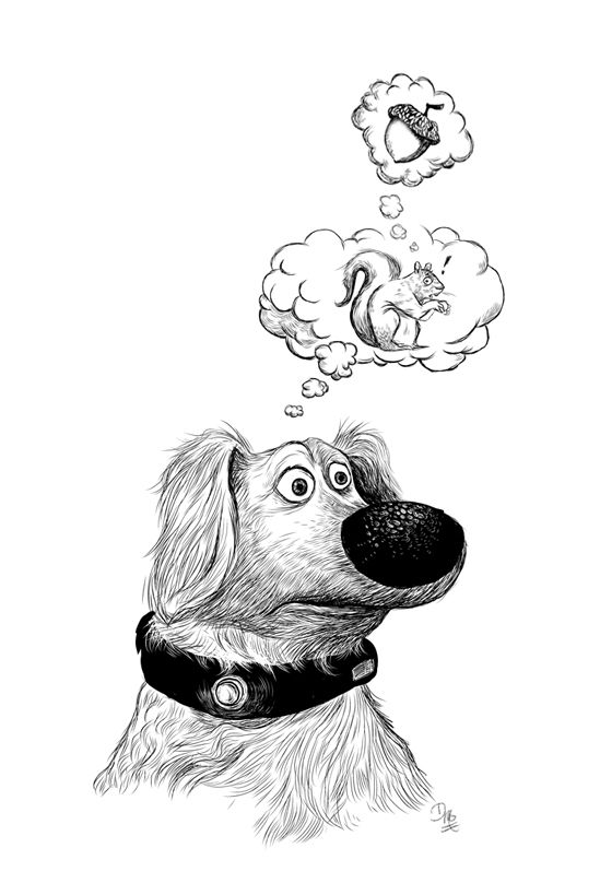 Duggy dog illustration in black and white dog illustration
