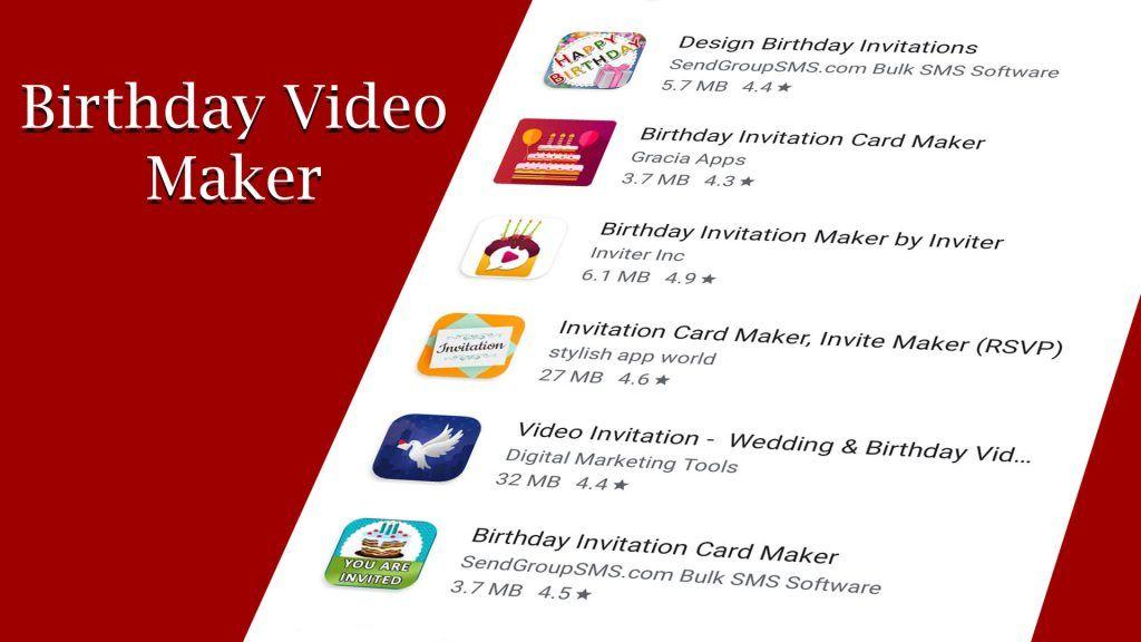 Birthday Video Maker Android Apps Inviter Com Birthday Gif Invitation Card Maker Birthday Cards