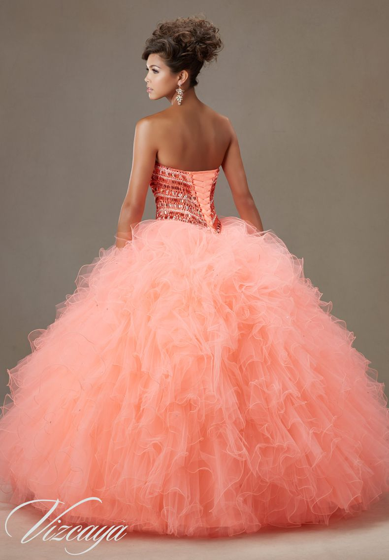 27d7e22808e Quinceanera Dress Vizcaya Morilee 89072 Jeweled beading on a Ruffled tulle  ball gown Colors  Coral