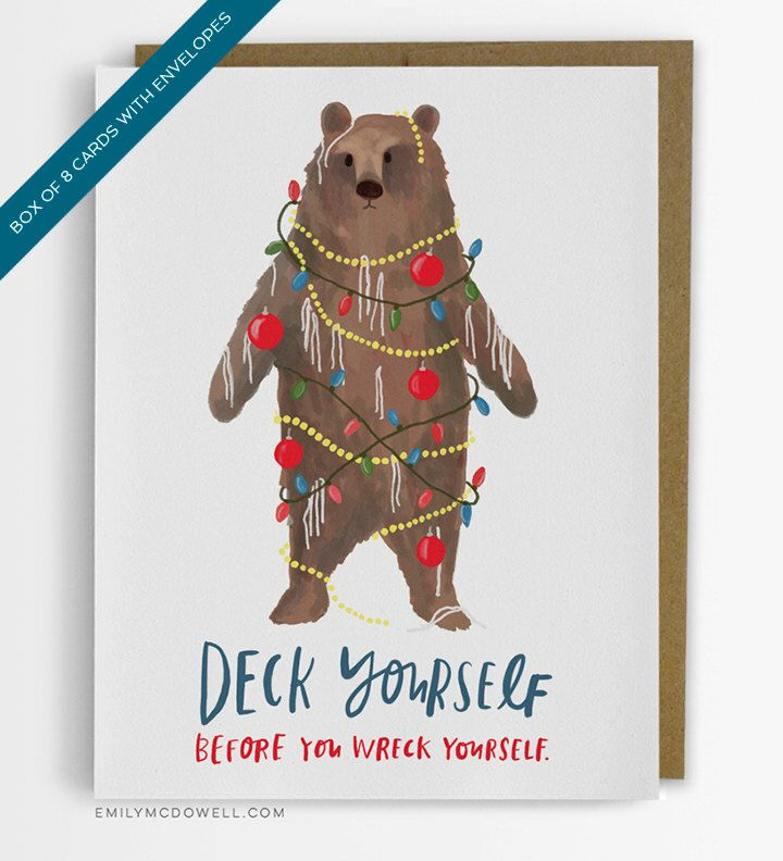 Deck yourself holiday cards box of 8 by emily mcdowell studio deck yourself holiday cards box of 8 by emily mcdowell studio bear christmas card by solutioingenieria Images