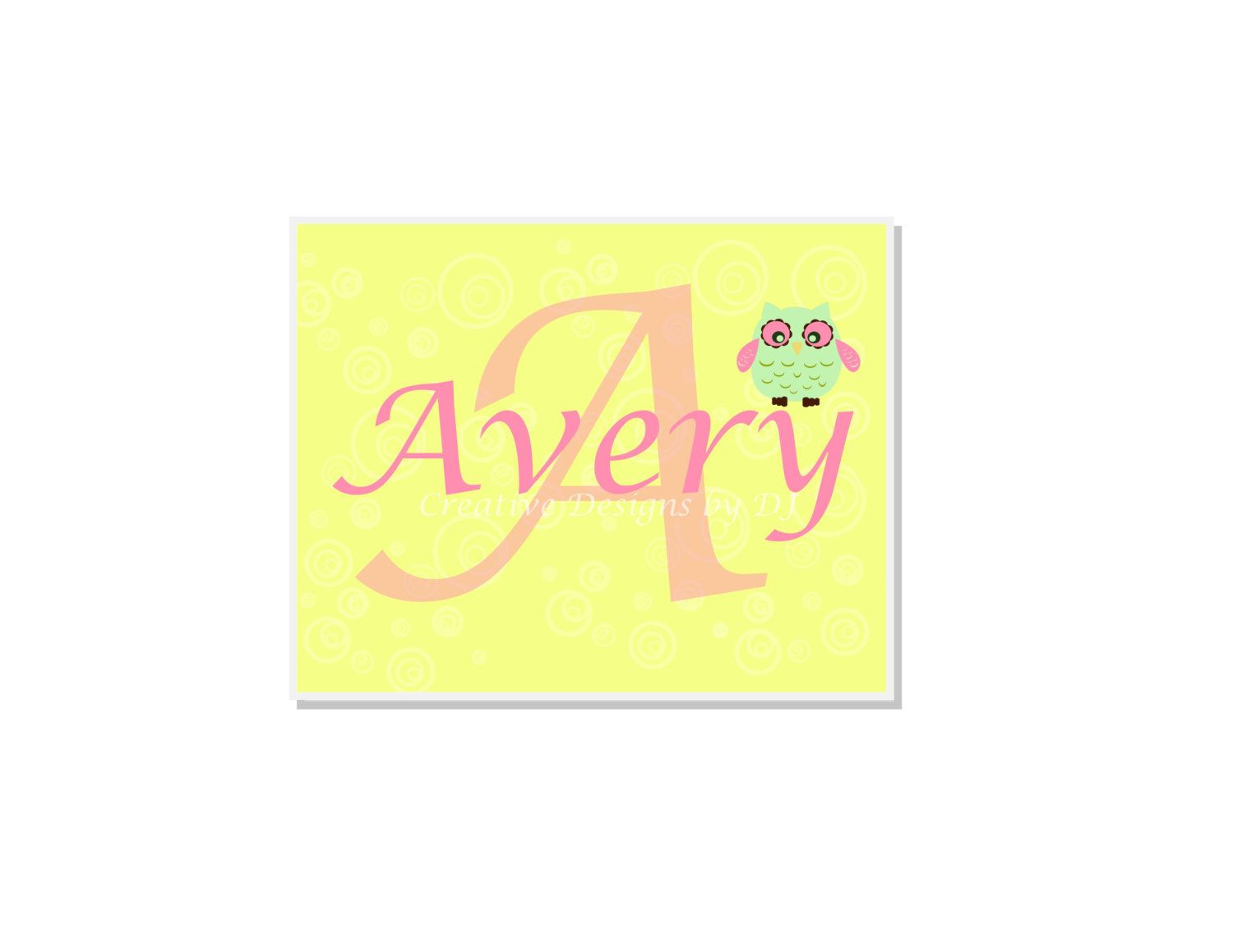 Owl Design Personalized Nursery Print 5\