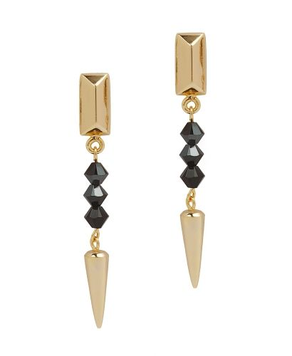 AURA spike drop earrings with black crystals | EDGE OF EMBER