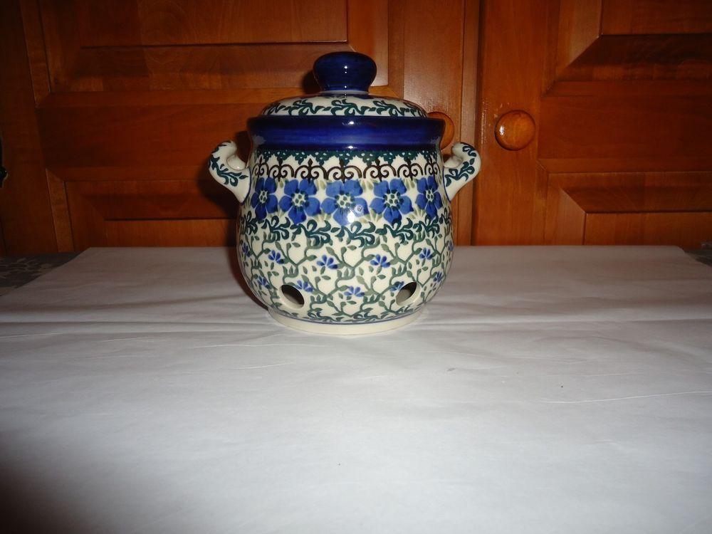 NOS Polish Pottery Handled Onion/Garlic Covered Jar. Poland.