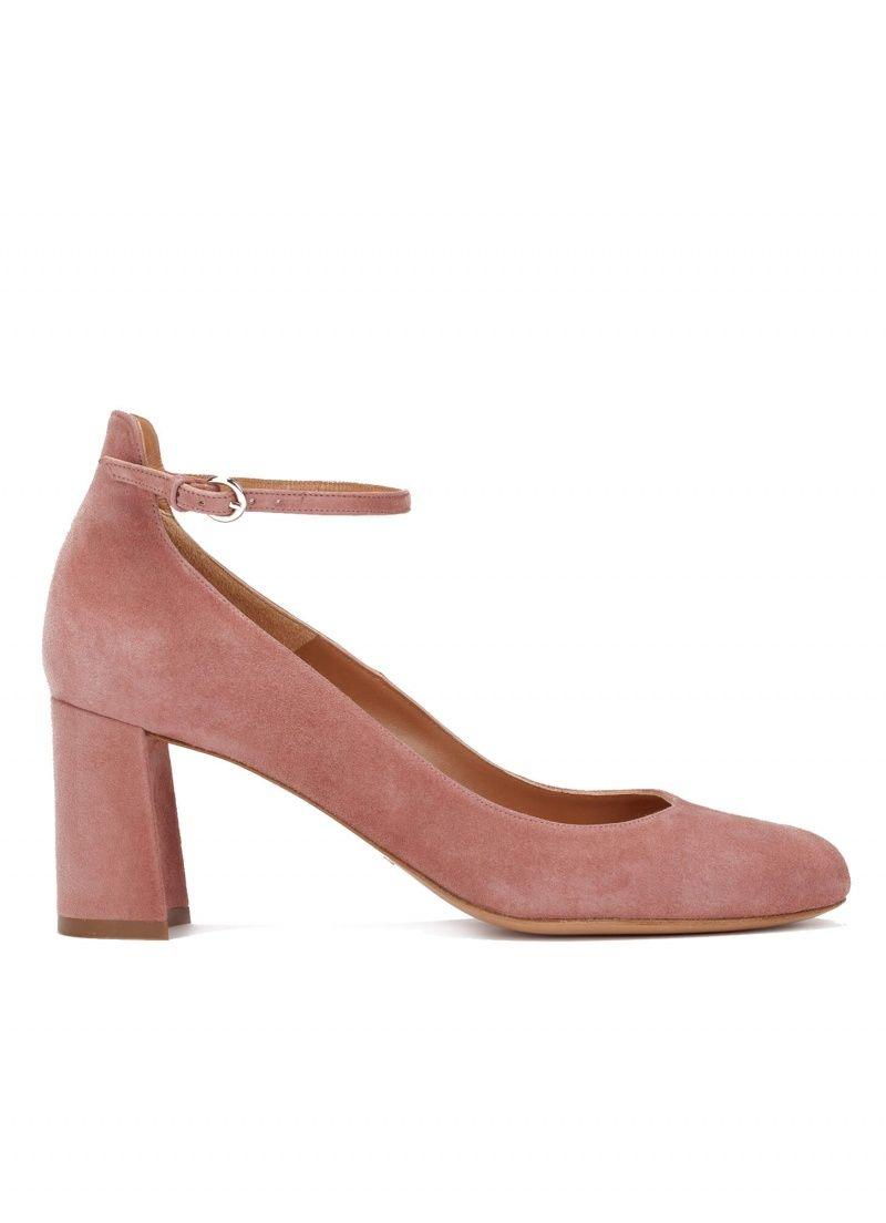 9a6b114e4dd Pura Lopez Janey- Buy ankle strap mid block heel shoes in red suede.  Official online shop Pura Lopez.