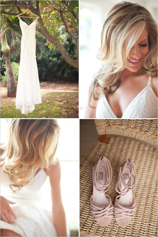 Gown: Acapulco by Watters. Pink shoes by Dolce Vita.