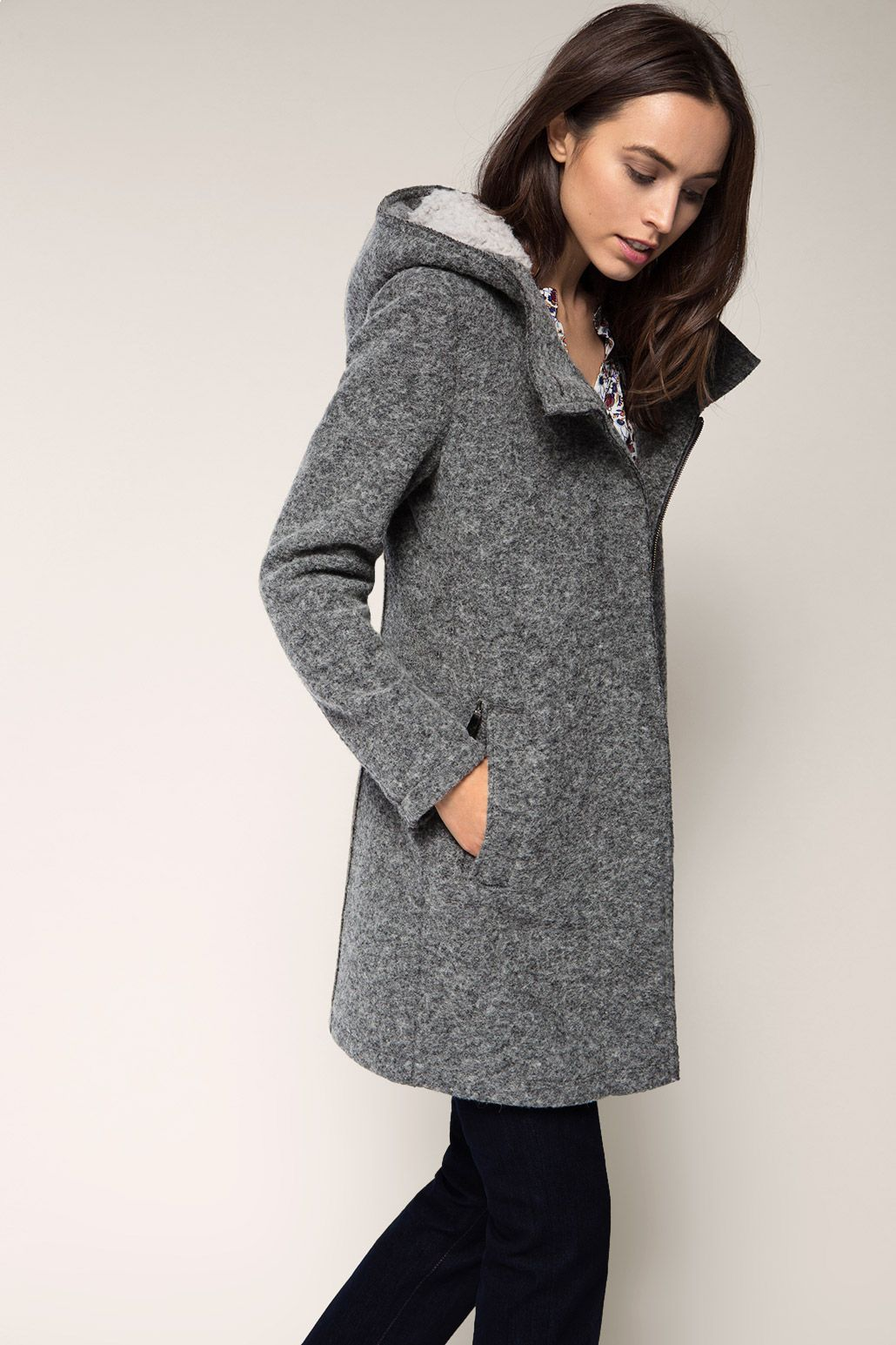 Boucle mantel grau kapuze