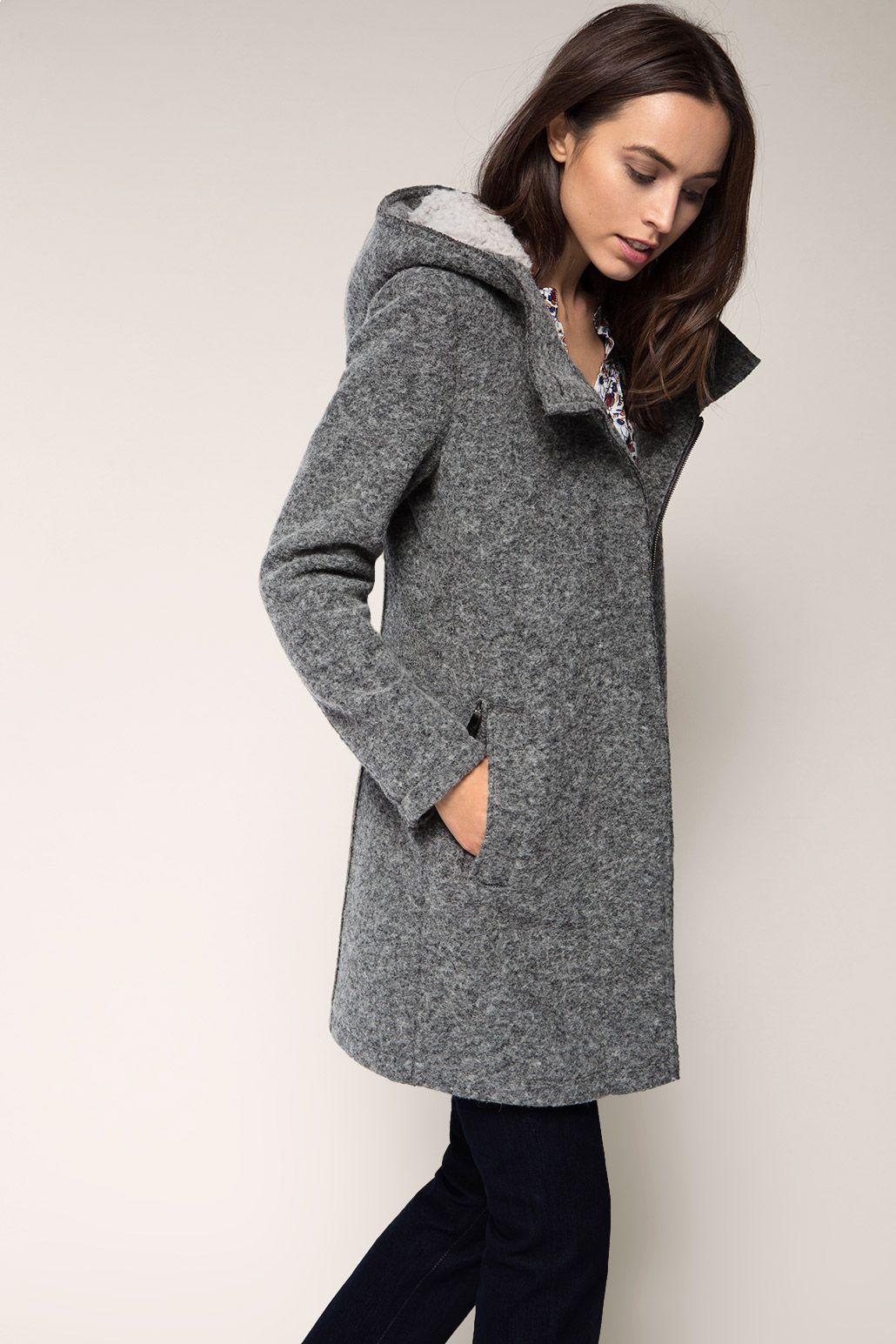 Esprit Mantel aus Woll Mix mit Webfell Kapuze | Mantel mit