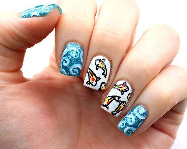 Koi Fish Nail Art With Video Tutorial