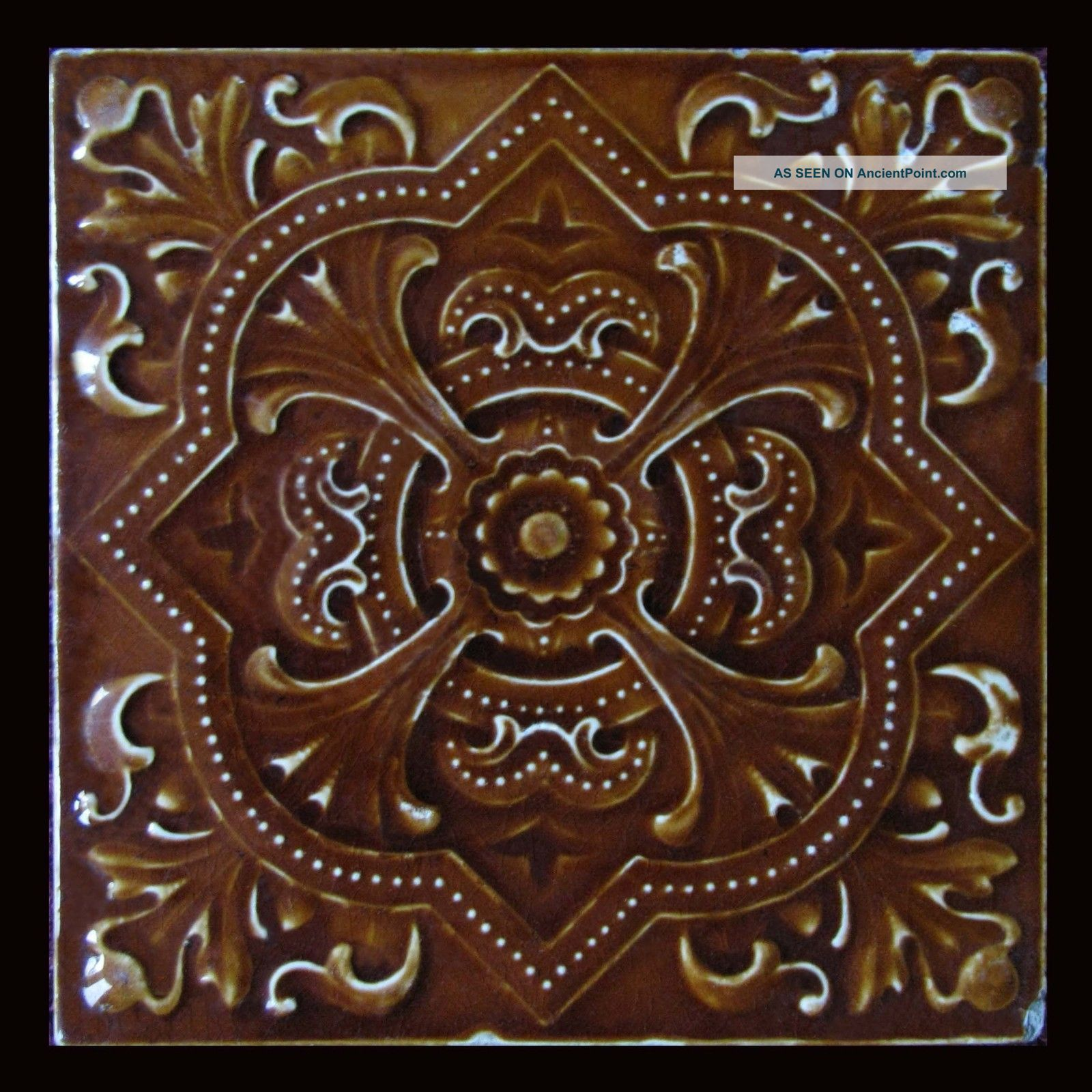 Stunning antique victorian pressed majolica ceramic tile in rich stunning antique victorian pressed majolica ceramic tile in rich sienna browns tiles photo doublecrazyfo Image collections