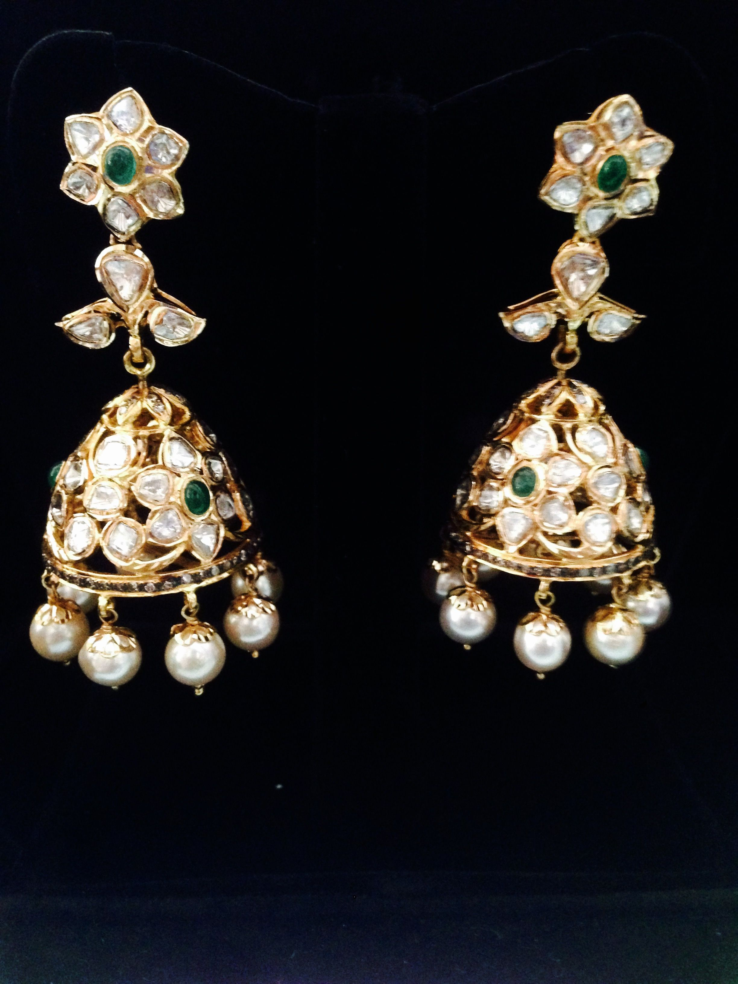 stud with earrings one gold jhumka gram diamond american caymancode peacock plated