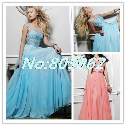 New 2014 A Line Scoop Appliques Floor Length Cap Sleeve Long Homecoming Dresses Chiffon vestido de festa dress to party HD11 $134.99
