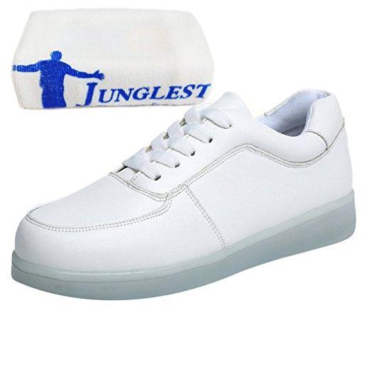 [Present:kleines Handtuch]Weiß EU 35, USB Freizeitschuhe aufladen Mode für Leuchtend Wechseln Outdoorschuhe Damen LED-Licht JUNGLEST® 7 Farbe Laufschuhe Schuhe Herren weis