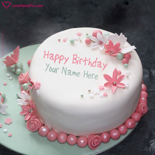 Flowers Birthday Cake With Writing Name Photo Hy Wishes