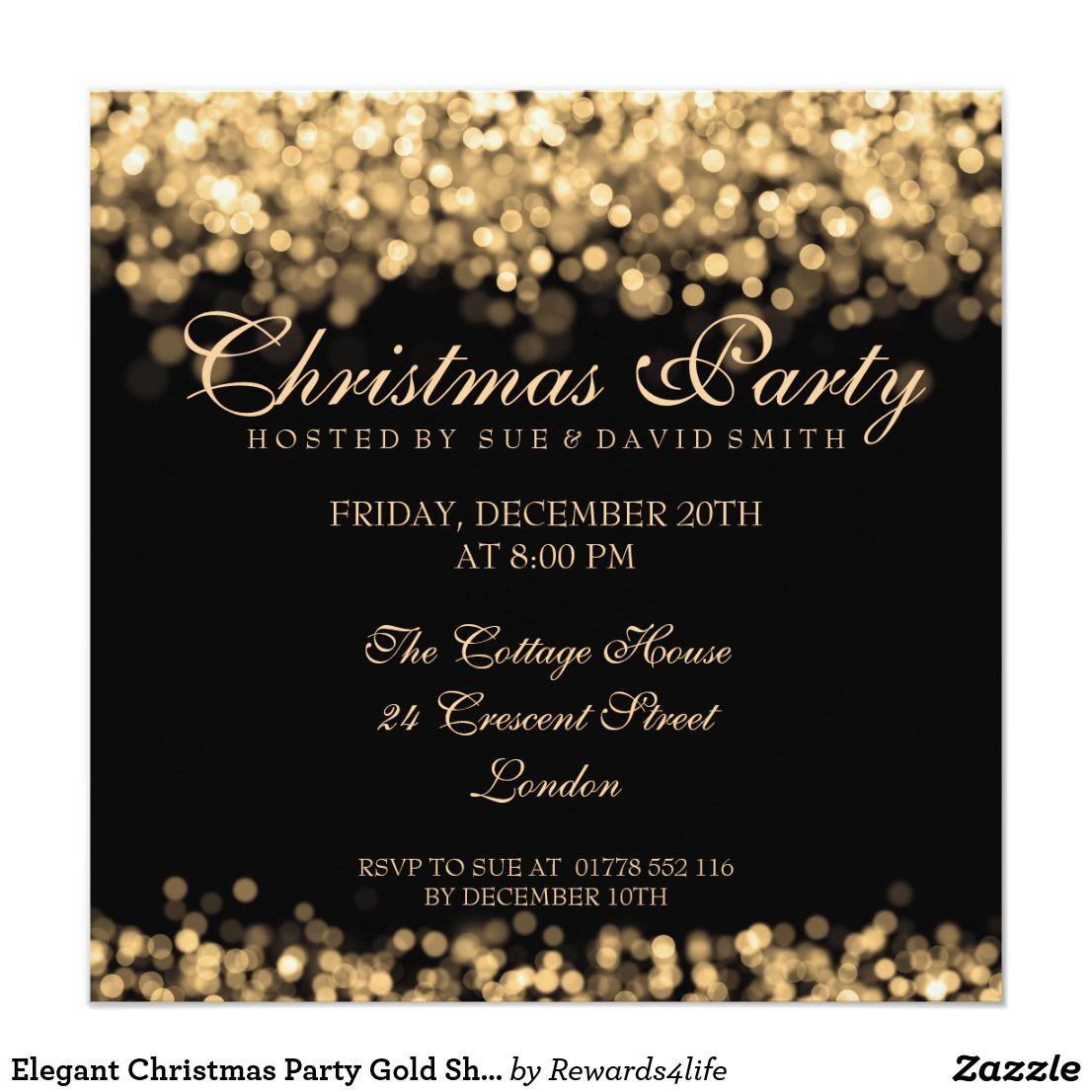 Elegant Christmas Party Gold Shimmering Lights Invitation Zazzle Com Engagement Party Wedding Elegant Christmas Party Gold Engagement Party