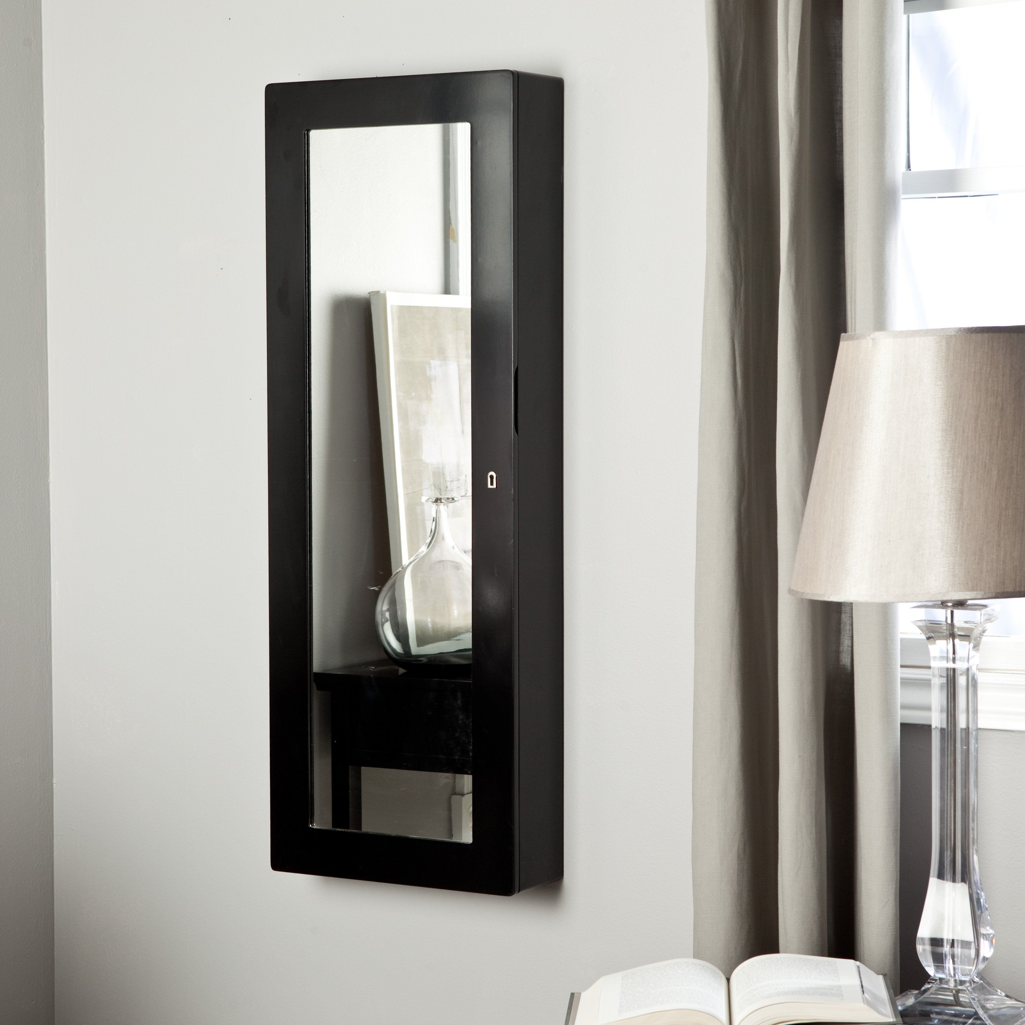 Have To Have It Paloma Wooden Wall Jewelry Armoire High Gloss Black 199 98 Wall Mounted Jewelry Armoire Jewelry Armoire Bathroom Wall Cabinets