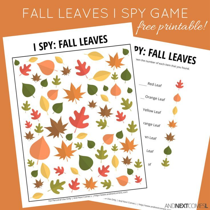 Fall Leaves I Spy Game {Free Printable for Kids} | Unidades ...