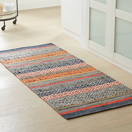 Yumi Gray Multi-Color Rag Rug | Crate and Barrel in 2019 ...