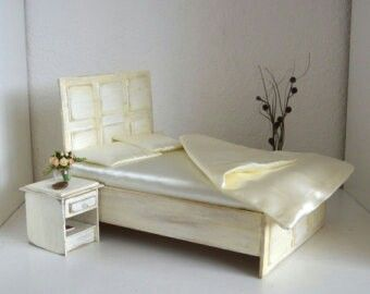 Shabby chic bed and night stand
