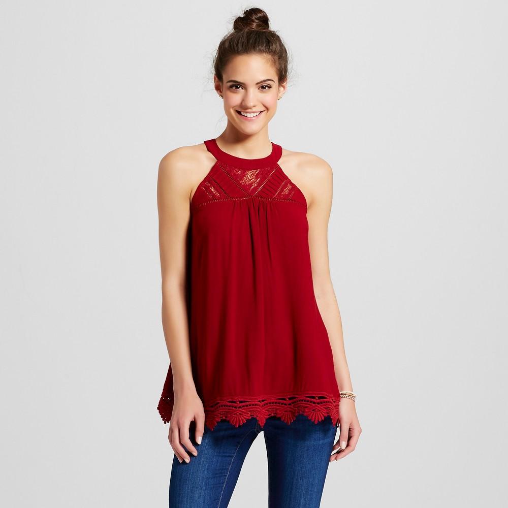 Women's High-Neck Tank with Crochet Trim - Xhilaration (Juniors'), Size: Medium, Deep Red