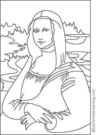 aula de artes retrato monalisa para colorir - Pesquisa Google ...