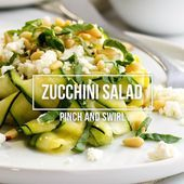 Raw Zucchini Salad marinated in a delicious blend of fresh lemon juice garlic a  Salate