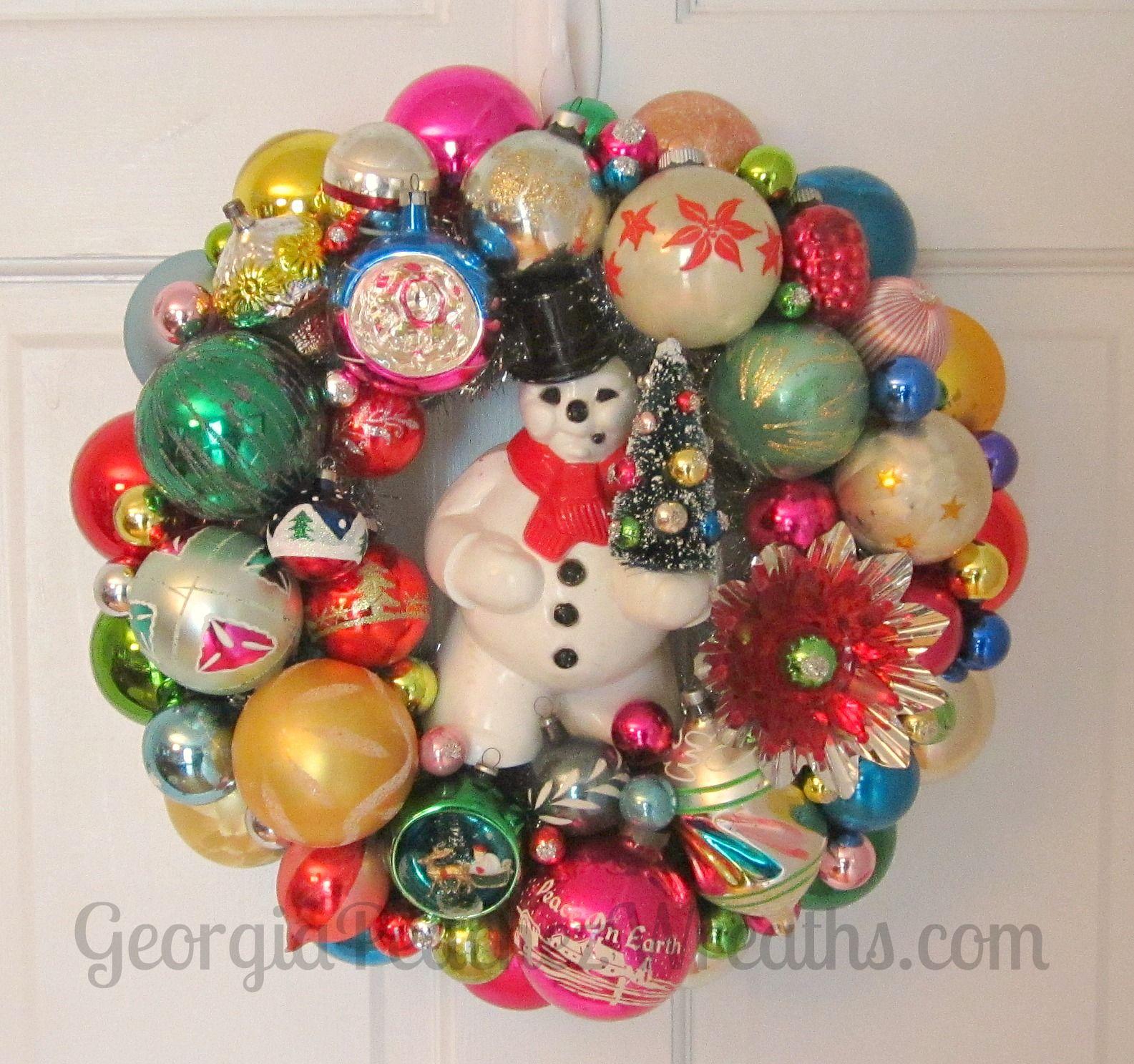 Georgiapeachezwreaths Com Christmas Ornament Wreath Vintage Christmas Ornaments Vintage Ornament Wreath