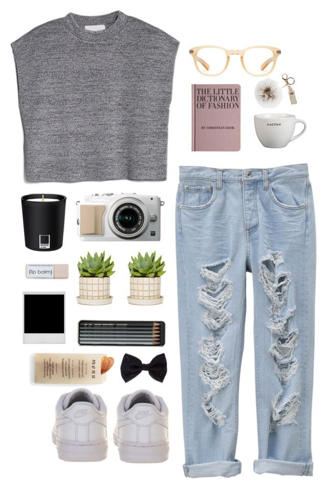 """""""Free time"""" by kiki-aleksandrov ❤ liked on Polyvore featuring MANGO, Oliver Peoples, Pantone, Hachette Book Group, Caran D'Ache, Overland Sheepskin Co., NIKE, Martha Stewart, Accessorize and freetime"""