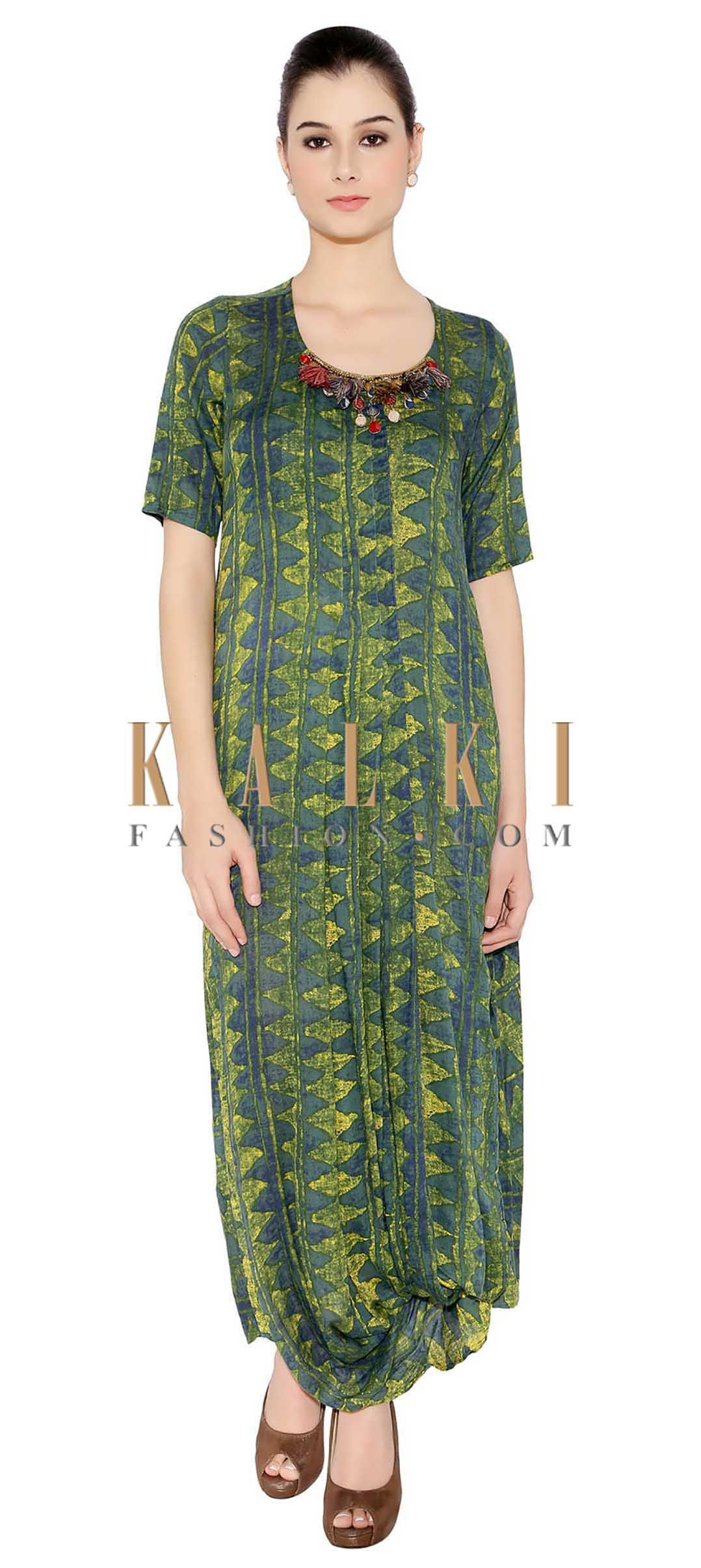 6d1d590d663 Green   Yellow Cotton Kurti With Balloon Style Hemline And Embellished  Neckline Having Tassels Only On Kalki