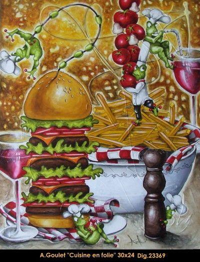 original acrylic painting by Anouck Goulet #art #acrylicpainting #originalpainting #anouckgoulet #artist #art #fineart #figurativeart #canadianartist #quebecartist #frog #fastfood #multiart #balcondart