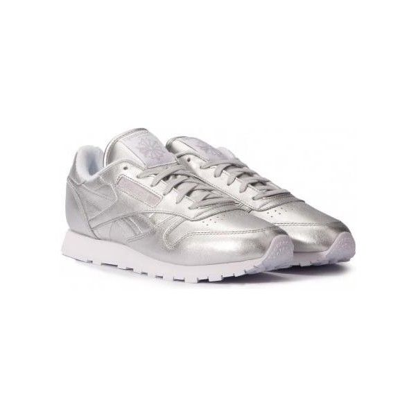 best sneakers 1f9c3 21b0b Reebok x Face Stockholm Classic Leather Spirit Sneakers in Silver... ❤  liked on Polyvore featuring shoes, sneakers, silver trainers, leather shoes,  leather ...