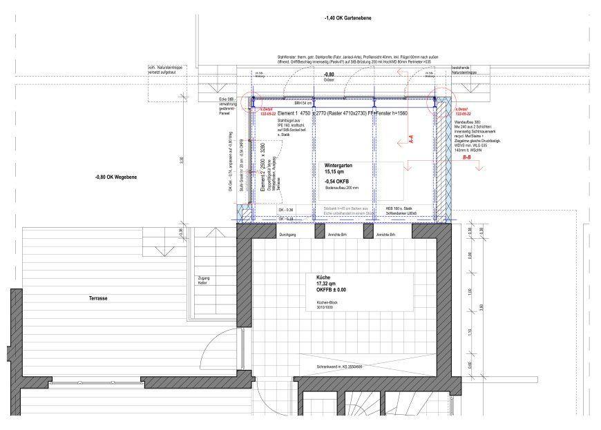 Werkplan Ausschnitt Grundriss   Anbau Esszimmer, Küche An Siedlerhaus 30er  Jahre