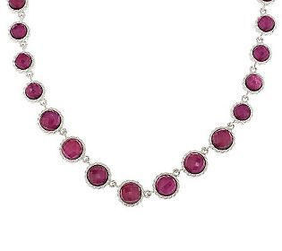 Judith Ripka Sterling Graduating Ruby Doublet Necklace